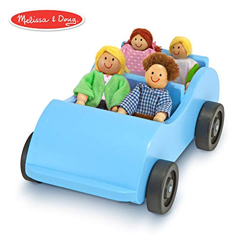 Melissa & Doug Road Trip Wooden Toy Car and 4 Poseable Dolls (4-5 inches each) (Barbie Trip Road)