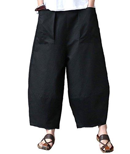 Aeneontrue Women's Patchwork Wide Leg Pants Trousers with Big Pockets (Large, Style1_Black)