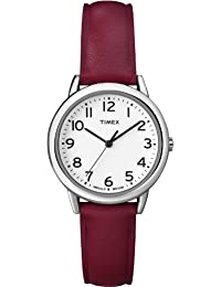 Timex Women's T2N952GP Dress Classic White Dial and Red Leather Strap