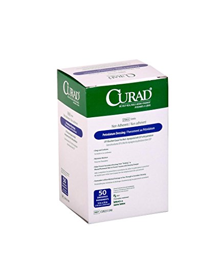 CURAD Sterile Petrolatum Dressing Gauze, 3''x9'', 4 Packs of 50 (200 Count) by Curad