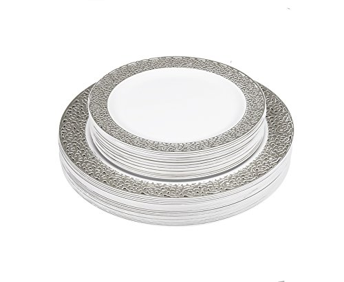 Posh Setting Lace Collection Combo Pack China Like White and Silver Lace Rim Plastic Plates (Includes 20 10.25'' Dinner Plates and 20 7.25'' Salad Plates) Elegant Disposable Dinnerware
