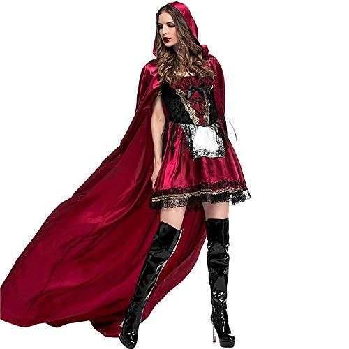 QAR Vestido De Caperucita Roja para Mujer Disfraz De Halloween Divertido Juego De Chal Capucha Ropa de Mujer (Tamaño :...