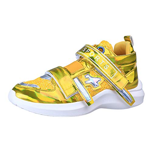 Sherostore ♡ Girl Women's Low Top Sneakers - Women Hook and Loop Court Sneakers Casual Slip-On Shoes Fashion Sneakers Yellow