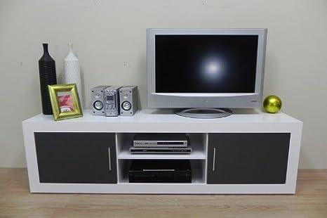 Azor - Modulo tv 2 puertas 2 huecos, medidas 180 x 40 x 51 cm, color blanco y grafito: Amazon.es: Hogar