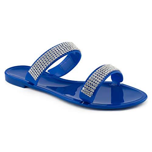 - RF ROOM OF FASHION Jeweled PVC Jelly Flat Slides Sandal Blue Size.7
