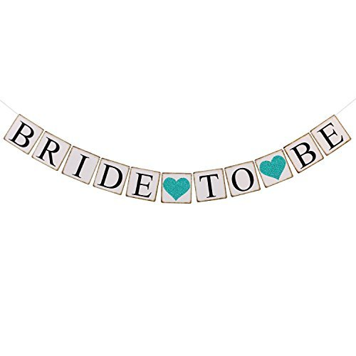 Ling's moment Bride to Be Banner with Teal Glitter Heart, Wedding Bunting Garland Sign - Engagement Photo Prop, Party Decoration for Bridal Shower, Bachelorette Party