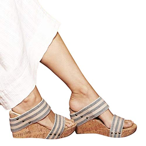 (Wedge Sandals,Women's Vintage Platforms Shoes Fashion Peep Toe Roman Slippers Sandal)