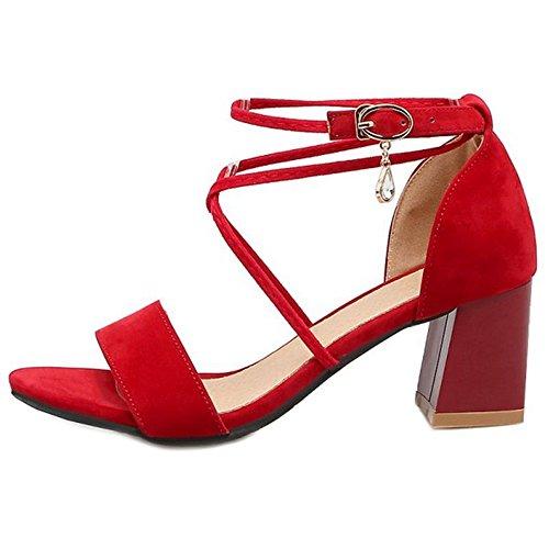 moda ante damas para con la de cruzadas y de tacón oficina correas SJJH y Sandalias grueso mujeres las de rojas 56apwqRR