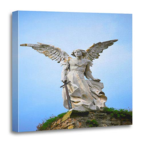 Emvency Canvas Wall Art Print Blue Figure Sculpture of Guardian Angel with Sword in The Cemetery Comillas Cantabria Spain Warrior Artwork for Home Decor 20 x 20 Inches
