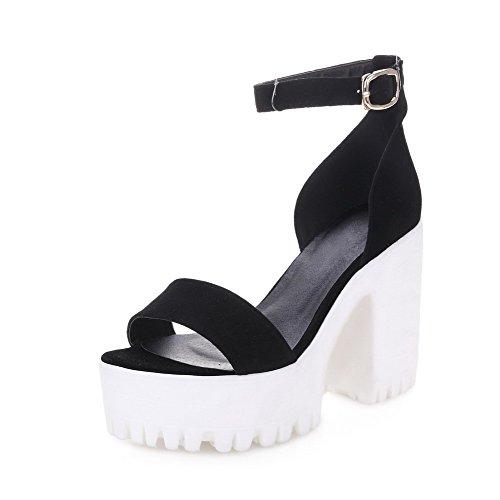 AmoonyFashion Womens Open Toe Buckle Sheepskin Solid High-Heels Sandals Black dF9Hum6r