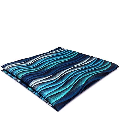 SHLAX&WING Ripple Blue Multicolored Silk Green Silk Pocket Square