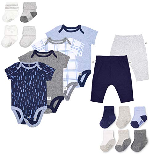 Fruit of the Loom Baby Gift Set 16-Piece Breathable Cooling Mesh Bodysuits, Pants and Socks - Unisex, Girls, Boys (0-3 Months, Blue)