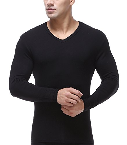 WUAMBO Men's Perfermance Soft Thermal Baselayer Long Sleeve T Shirt Black US S/Tag -
