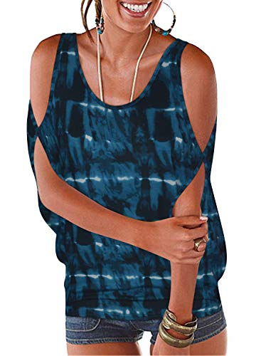 Ranphee Women's Blue Tie-dye Summer Cold Shoulder Tops Casual Scoop Neck Short Sleeve T-Shirt