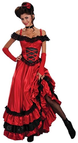 Faerynicethings Adult Red Saloon Sweetie Costume - Wild West Dance Hall Girl - up to 14-16 ()