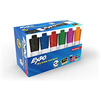 EXPO 81043 Low-Odor Dry Erase Markers, Chisel Tip, Assorted Colors. 12-Count
