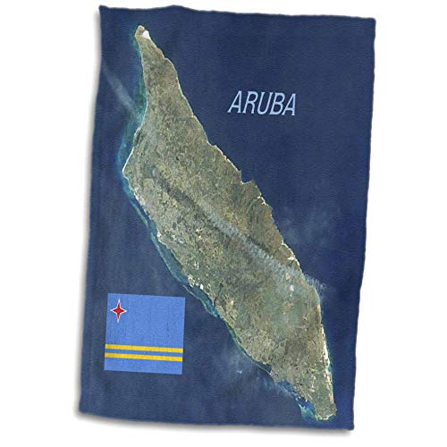 3dRose Lens Art by Florene - Topo Maps and Flags - Image of Aerial Topo View with Flag of Aruba - 15x22 Hand Towel (TWL_306862_1)