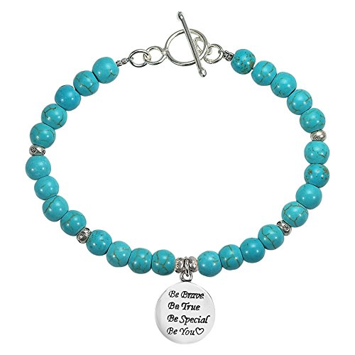 (AeraVida Simulated Turquoise 'Be You' Special Inspirational .925 Sterling Silver Pendant Link Bracelet)