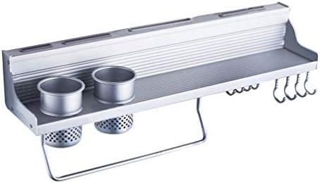 TOPBATHY 壁掛け式スパイスラックアルミ製キッチンラック調理器具ポットパンハンガーフックポットオーガナイザーナイフ収納ラックキッチンガジェット