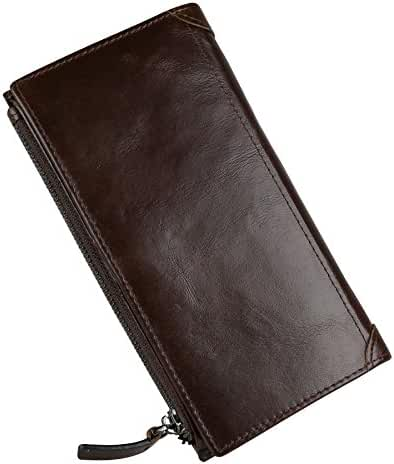 Men's Genuine Leather Long Zipper Clutch Wallet Smartphone Card Case Bag 4.7
