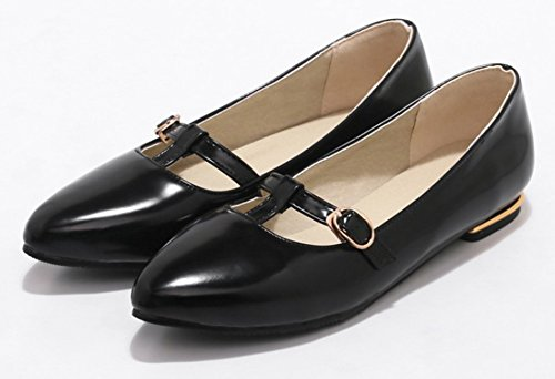 Low Chunky Low Comfort On Buckle Burnished Pumps Heel Black Pointed Toe Cut Womens Shoes Aisun Strap Dressy Slip YUvqAUw