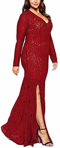 Da Più Pizzo Di Jaycargogo Vino Partito Di Donne Rosso Eleganti Sera Vestito XxBFq