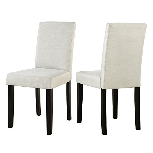 LSSBOUGHT Classic and Modern Fabric Dining Chairs Dining Room Chair with Solid Wood Legs Set of 2(Beige) (Dining Room Set With Upholstered Chairs)