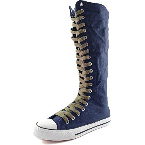 Damestas Dames Canvas Mid Kalf Lange Laarzen Casual Sneaker Punk Flat, Marineblauwe Laars, Taupe Veter