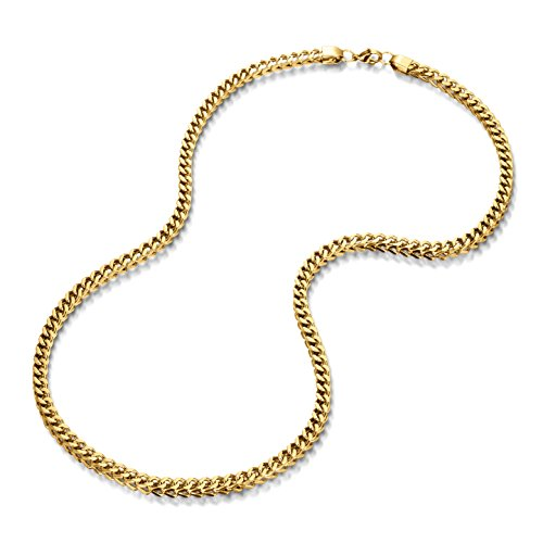 - Kezef Men's Gold Plated Stainless Steel Franco Chain Necklace Foxtail Link 30 inch