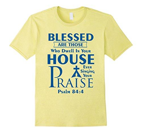 Men's Praise Lutheran T-shirt Front only, Blue Logo Medium Lemon