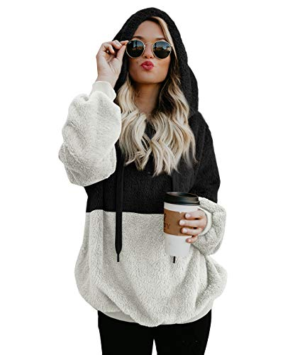 Douremifa Long Sleeve Faux Fur Hoodie Coat for Women Plus Size 1/4 Zip Sweatshirt Jacket Sherpa Pullovers Autumn Basic Tops Pockets Black White XL (Womens Holiday Jacket)