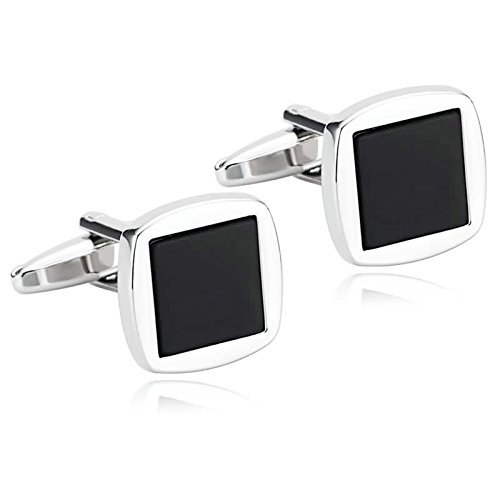 Epinki Mens Stainless Steel Silver Black Classic Two Tone Square Design Cufflinks for Wedding Business
