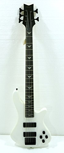 5 String Electric Bass, Fretted, Matte White Polish by KAPOK