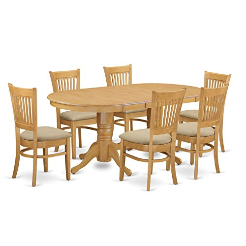 East West Furniture VANC7-OAK-C 7-Piece Dining Table Set (7 Piece Slat)