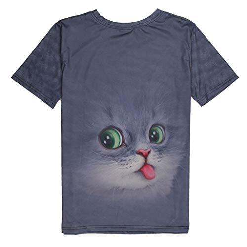 JJLIKER Mens Womens 3D Graphic Print Short Sleeve T-Shirt Cute Animal Cat Tops Crewneck Tee Summer Blouse Unisex Gray ()