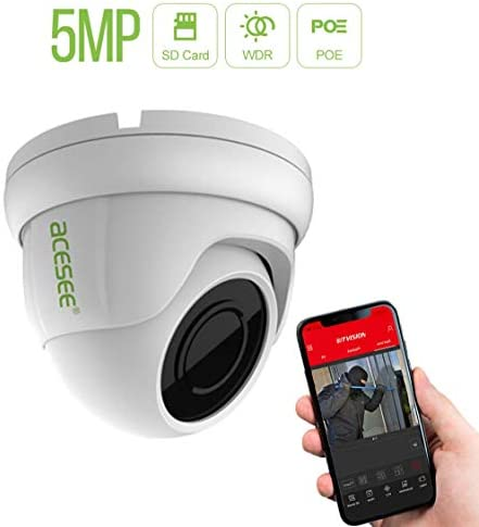 5MP PoE IP Security Camera, 2592 x 1920 Super HD Dome Indoor Outdoor Surveillance Security Camera, NightVision, 2.8mm Lens, IP66 Weatherproof, Remote Access, Motion Detection, MicroSD Recording