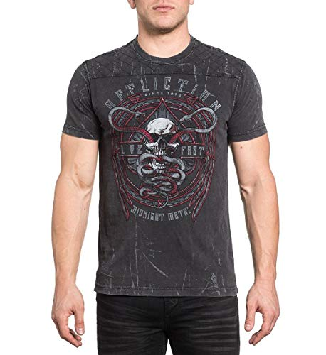 - Affliction Men's Temple Viper Black Lava Wash Short Sleeve Tee (Medium)