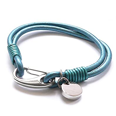 Tribal Steel 19.5cm Jade Coloured Leather Bracelet for Women with Rondel Charms 2L0w7tgL