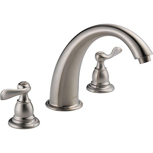 Delta Windemere Stainless Steel Finish Widespread Roman Tub Faucet w/Valve (Stainless Steel Soaking Tub)