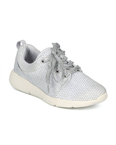 Alrisco Women Glitter Mesh Lace Up Low Top Jogger Sneaker - HG96 by Fahrenheit Collection Silver Mix Media