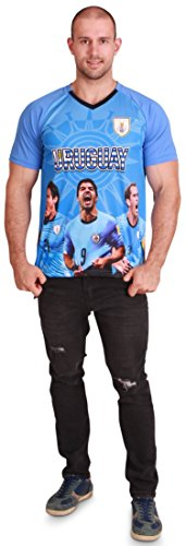 Men's Uruguay World Cup 2018 Soccer Jersey with Team Picture, Men Size - Soccer World Cup Pictures