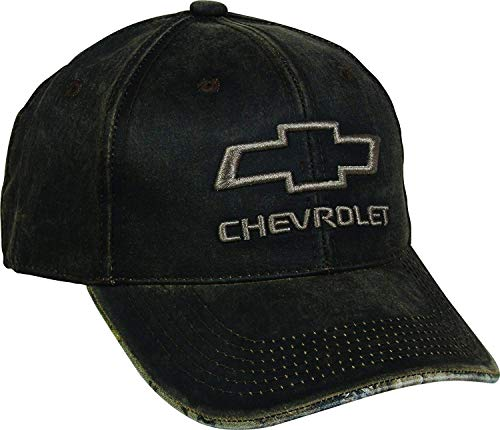 Outdoor Cap Men's Chevrolet Weathered Cap with Camo Under Visor, Brown/Realtree Edge, Chevy - Chevy Baseball Cap