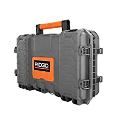 This RIDGID tool box is made with a durable high impact resin and made to last. It offers heavy duty metal latches and an integrated water seal to protect against water and dust damage. This tool box works with the RIDGID Pro Tool Storage Sys...