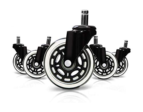 Optimum Orbis Office Chair Caster Wheels Heavy Duty Safe for All Floors Including Hardwood Perfect Replacement for Desk Floor Mat Rollerblade Style 3 (Set of 5)