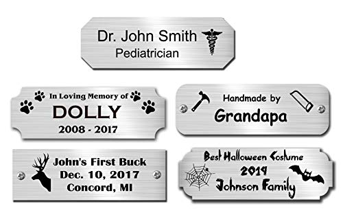 1 H x 3 W, Silver Color Solid Metal Nameplate, Satin or Polished Finish, Personalized Custom Laser Engraved Label Art Tag for Frames, Valentines Day Gift, Made in USA