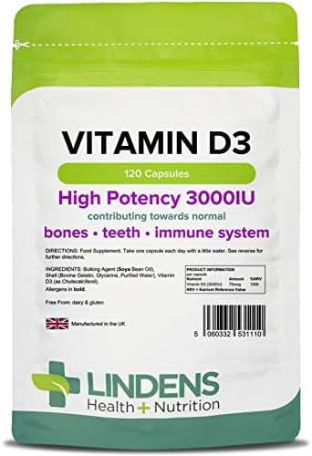 Lindens Vitamin D3 Capsules 120 x 3000 IU - High Strength (Vitamin D Tablets)