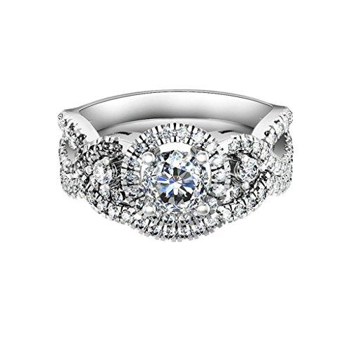 Epinki Women Rings, 925 Sterling Silver Ring Engagement Rings Wedding Rings Streamline Design CZ Size 8.5 by Epinki