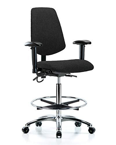LabTech Seating LT41035 ESD Fabric High Bench Chair Medium Back Chrome Base, Tilt, Arms, Chrome Foot Ring, ESD Casters, Black