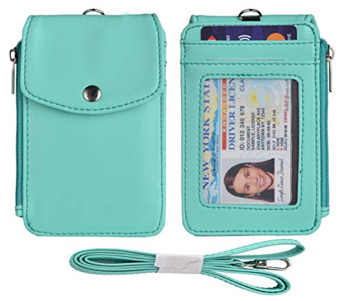 - Woogwin Leather Badge Holder with Lanyard, ID Card Holder Wallet, 1 Side Zipper Pocket, 4 Card Slots, 1 ID Window,1 Heavy Duty Leather Lanyard (SkyBlue)
