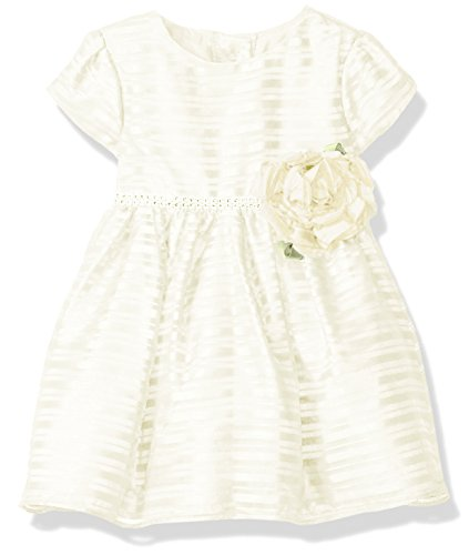 Sweet Heart Rose Little Girls Organza Stripe Special Occasion Dress With Rhinestone, Ivory, 6-9 Months